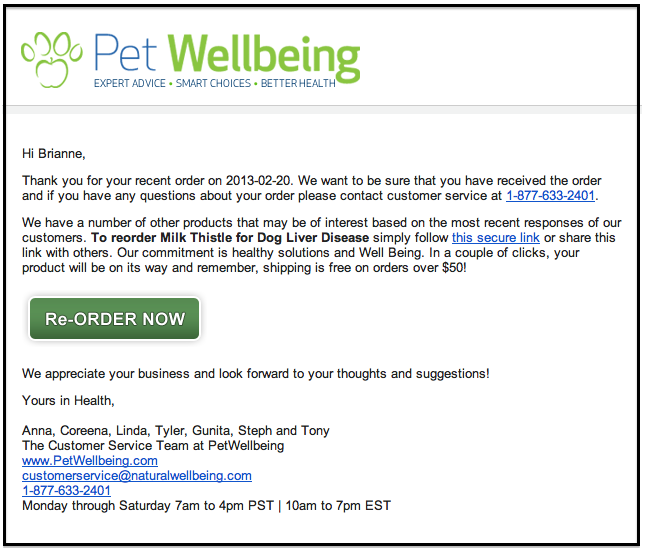 petwellbeing email