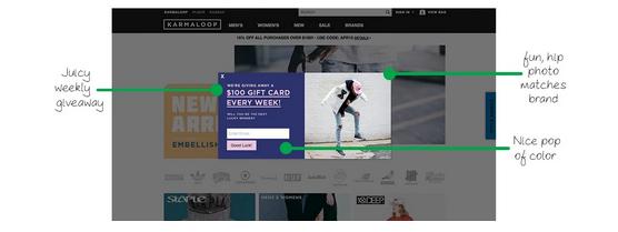 Contest pop-up Karmaloop