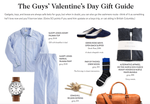 Valentine's Day Gift Guide Example