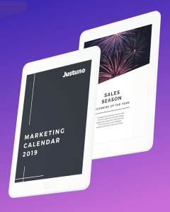 2019 Marketing Calendar Justuno Guide displayed on two tablets