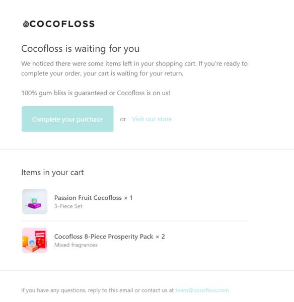 Cocofloss cart abandonment email Klaviyo