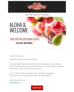 Koa welcome email example