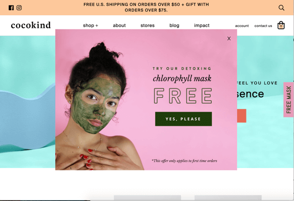 Free Gift Pop-up