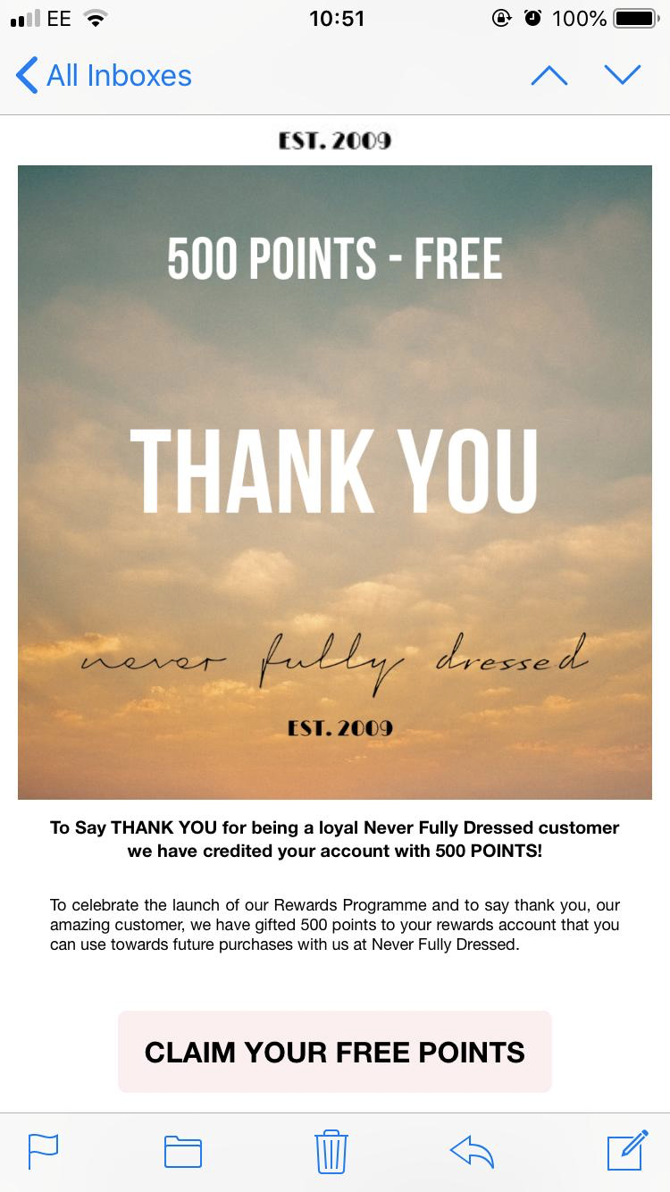 Never Fully Dressed Thank You Email