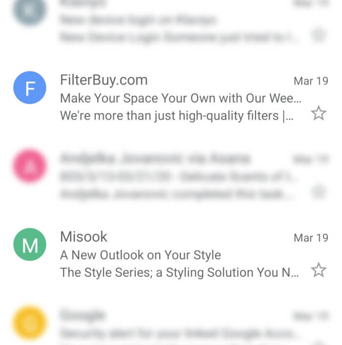 Examples of a short subject line by FilterBuy and Misook