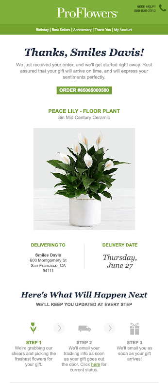 ProFlowers Email Followup
