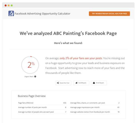 WordStream Facebook Ad Calculator