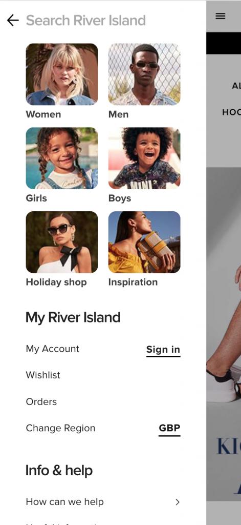 River Island Mobile Nav UX