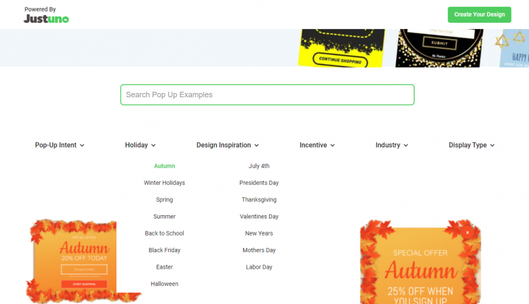 Search and filter pop up design examples through hundreds of tags and keywords